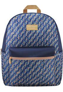 Mochila Com Tag & Bolso- Azul & Marrom Claro- 42X33Xjacki Design