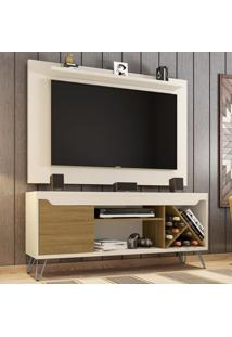 Rack Com Painel Para Tv Até 50 Polegadas Kenzo Off-White/Cinamomo - Móveis Bechara