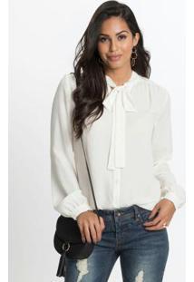 8895197fb1 ... Camisa Com Gola Laço Off White