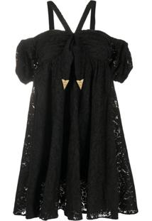 Versace Jeans Couture Lace Mini Dress - Preto