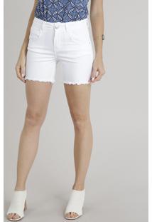 Bermuda De Sarja Feminino Com Barra Desfiada Branco