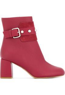Red Valentino Ankle Boot De Couro - Vermelho