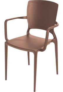 Cadeira Com Braco Sofia Encosto Fechado Cor Marrom - 27724 Sun House
