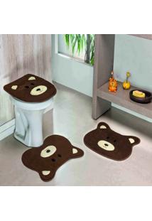 Jogo Banheiro Dourados Enxovais Formato Urso Cafe