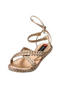 Salomé Espadrille Love Shoes Anabela Plataforma Trança Metalizada Bronze