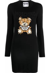 Moschino Vestido De Tricô Com Aplicação Teddy Bear - Preto