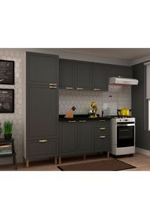 Cozinha Compacta Nevada Iii 8 Pt 4 Gv Grafite E Branca