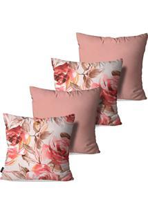 Kit Com 4 Capas Para Almofadas Pump Up Decorativas Estilo Desenho De Rosas 45X45Cm
