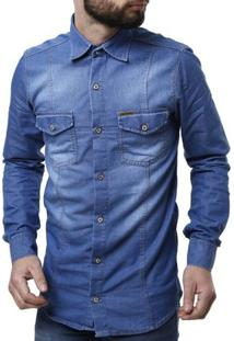 Camisa Jeans Manga Longa Masculina - Masculino-Azul