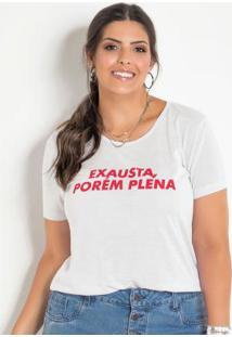 T-Shirt Plus Size Com Estampa Frontal Branca