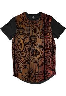 Camiseta Bsc Longline Madeira Flor Sublimada Preta Marrom