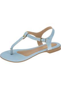 Sandália Rasteira Domidona Croco Aberta Azul