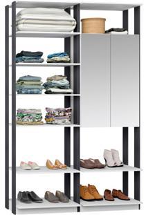 Guarda-Roupa Solteiro Modulado Clothes Ii Com Espelho 2 Pt Branco E Espresso