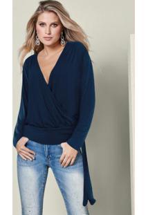 Blusa Transpassada Com Amarração Azul Marinho