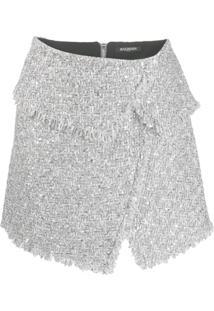 Balmain Jaqueta De Tweed Assimétrica - Prateado