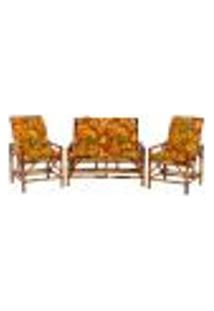 Sofá 2 Lugares 2 Cadeiras De Bambu Cancun Para Area Edicula Jardim G02