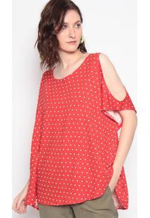 Blusa Poã¡ Com Ombros Vazados- Vermelha & Branca- Marmaria Padilha