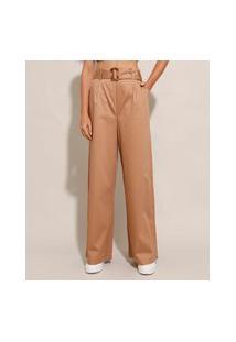 Calça Pantalona Com Pregas Cintura Super Alta Com Cinto Caramelo