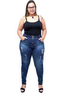 Calça Jeans Xtra Charmy Plus Size Cigarrete Meriana Azul - Kanui