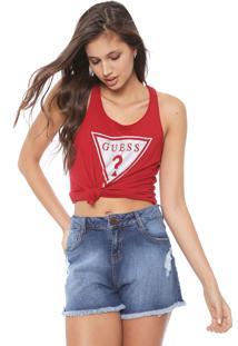 Regata Guess Logo Glitter Vermelha