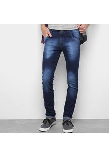 Calça Jeans Skinny Coffee Estonada Masculina - Masculino-Jeans