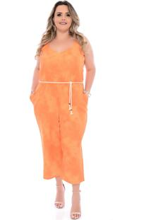 Macacã£O Plus Size Arimath Plus Pantacourt Tie Dye Laranja - Laranja - Feminino - Dafiti