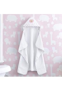 Toalha Banho Bebê Com Capuz Branco Leoa Rosa Grão De Gente Rosa