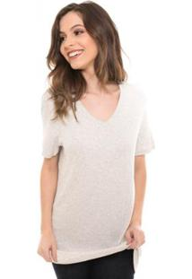 Camiseta Daniela Cristina Blusa Alongada Gola V Feminina - Feminino-Cinza