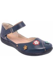 Sapatilha Conforto D&R Shoes Em Couro Feminina - Feminino-Marinho