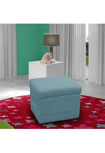 Puff Decorativo Quadrado Matrix Carinho Suede Pena Azul