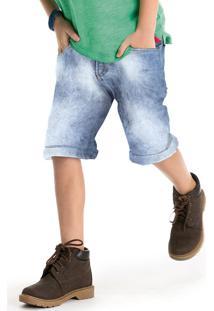 Bermuda Jeans Infantil Masculina Com Lavação Clara De Desgaste Puc