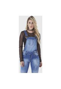 Macacão Jardineira Hno Jeans Longo Azul
