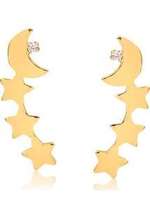Brinco Ear Cuff Com Estrelas, Lua E Ponto De Luz Em Zircônia Folheado Em Ouro 18K – 2180000001876