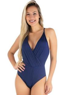 Body Bojo Mvb Modas Cavado Alcinha Verão Feminino - Feminino-Azul