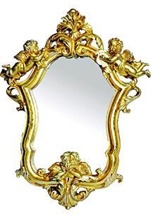 Espelho Arabesco Dourado Em Resina