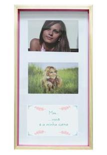 Painel Retangular Para Fotos Kapos Wood Em Madeira 20 X 40 Cm - Natural/Pink