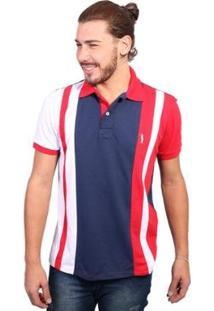 Camisa Polo Golf Club Trios - Masculino-Marinho+Vermelho