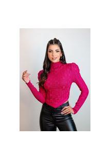 Blusa Feminina Tricot Modal Tecido Detalhado Bico V Ombro Bufante Marsala