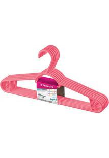 Cabide Em Plástico Pendura Mais Rosa Com 6 Peças