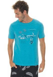 Camiseta Timberland Vintage Traveler Masculina - Masculino-Azul