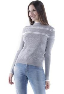 Blusa Pop Me Tricô Listrado Detalhe Vazado Feminina - Feminino-Mescla
