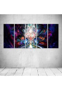 Quadro Decorativo - Psychedelic Digital Art - Composto De 5 Quadros - Multicolorido - Dafiti