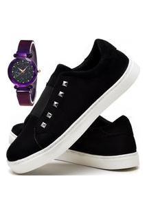 Kit Tênis Sapatênis Casual Fashion Com Relógio Luxury Feminino Dubuy R301El Preto