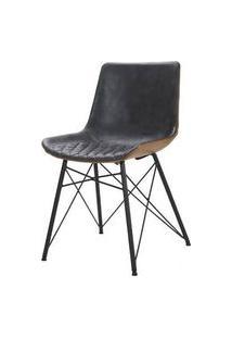 Cadeira Ayla Courino Cinza Escuro Base Preto 83Cm - 62851 Cinza