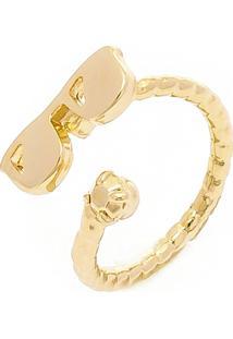 Anel Banho De Ouro De Falange Modelo Oculos - Feminino-Dourado