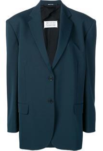 Maison Margiela Blazer Com Contraste - Azul