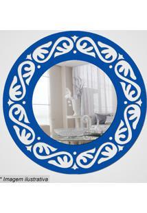 Espelho Círculo Com Recortes- Espelhado & Azul- Ø29,Cia Laser