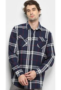 Camisa Gajang Xadrez Jhonson Nash Masculina - Masculino-Marinho