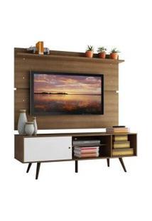 Rack Madesa Cairo E Painel Para Tv Até 65 Polegadas Com Pés De Madeira Rustic/Branco/Rustic