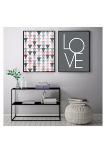 Quadro Oppen House 70X100Cm Love Escandinavos Decoraçáo Triângulos Frases Decorativo Interiores Sala De Estar Quartos Moldura Preta Com Vidro